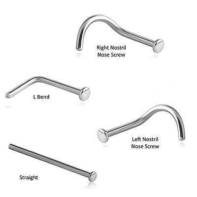 316l Surgical Steel Straight Nose Stud Ring Screw L Bend 1 5mm Flat Disc Gauge Ebay