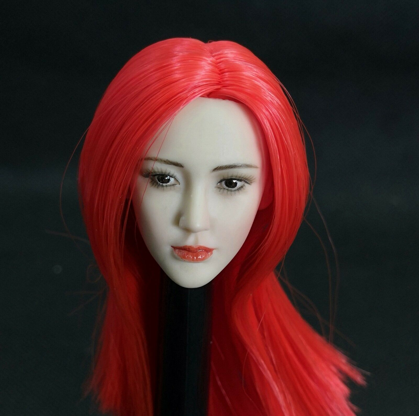 1 6 Red Long Hair Planted Head Sculpt Carving Model Fit 12  Action Figure