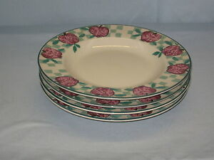 4-Tienshan-Stoneware-Lunch-Salad-Plate-8-034-Diameter-Red-Apple-Country-Check-DH34