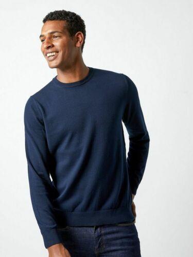 MENS Ex BURTON Navy Grey /& Natural Crew Neck Long Sleeve T-shirt XXL SIZE M