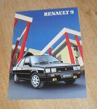 Renault 9 Turbo Brochure 1986