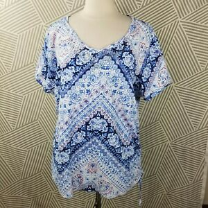 Gloria Vanderbilt Peasant Boho Top Plus size 2X 18/20 Blouse Bling studs T-shirt
