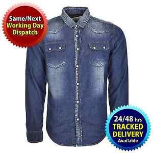 0822d76636f Soul Star Mens Long Sleeve Denim Shirt Double Pockets Washed Colour ...