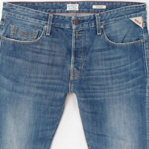 Details about Mens Replay M909 JENNON Slim Straight Blue Jeans W34 L32