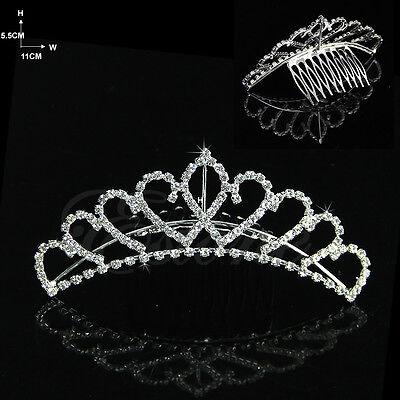 Wedding Bridal Comb Tiara Rhinestone Crystal Crown Pageant Hair Headband HG016