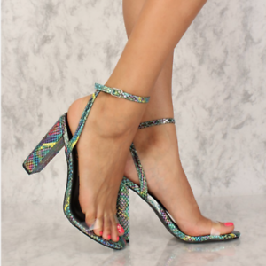 ec1c789da47 So Me JAZLYN Multi-Color Faux Snake Clear Open Toe Ankle Strap ...
