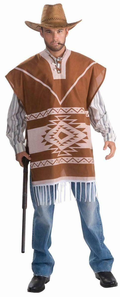 Lonesome Cowboy Poncho Costume w/Shirt&Attached Vest Adult Standard