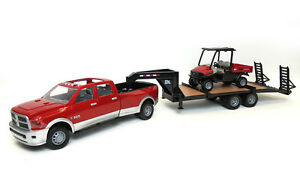 1//16TH ERTL RAM RED /& SILVER 3500 DUALLY WITH TRAILER AND SCOUT 46456