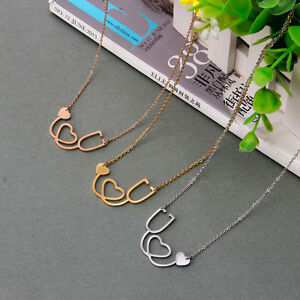 Women-Fashion-Jewelry-Medical-Stethoscope-Heart-Chain-Pendant-Collar-Necklace