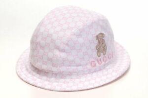 22efe94e NWT NEW Gucci baby girls light pink GG logo bucket fedora hat teddy ...