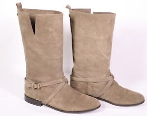 10S-Massimo-Dutti-Stiefel-Leder-braun-Gr-41-Blockabsatz-used-look-Biker-Boots