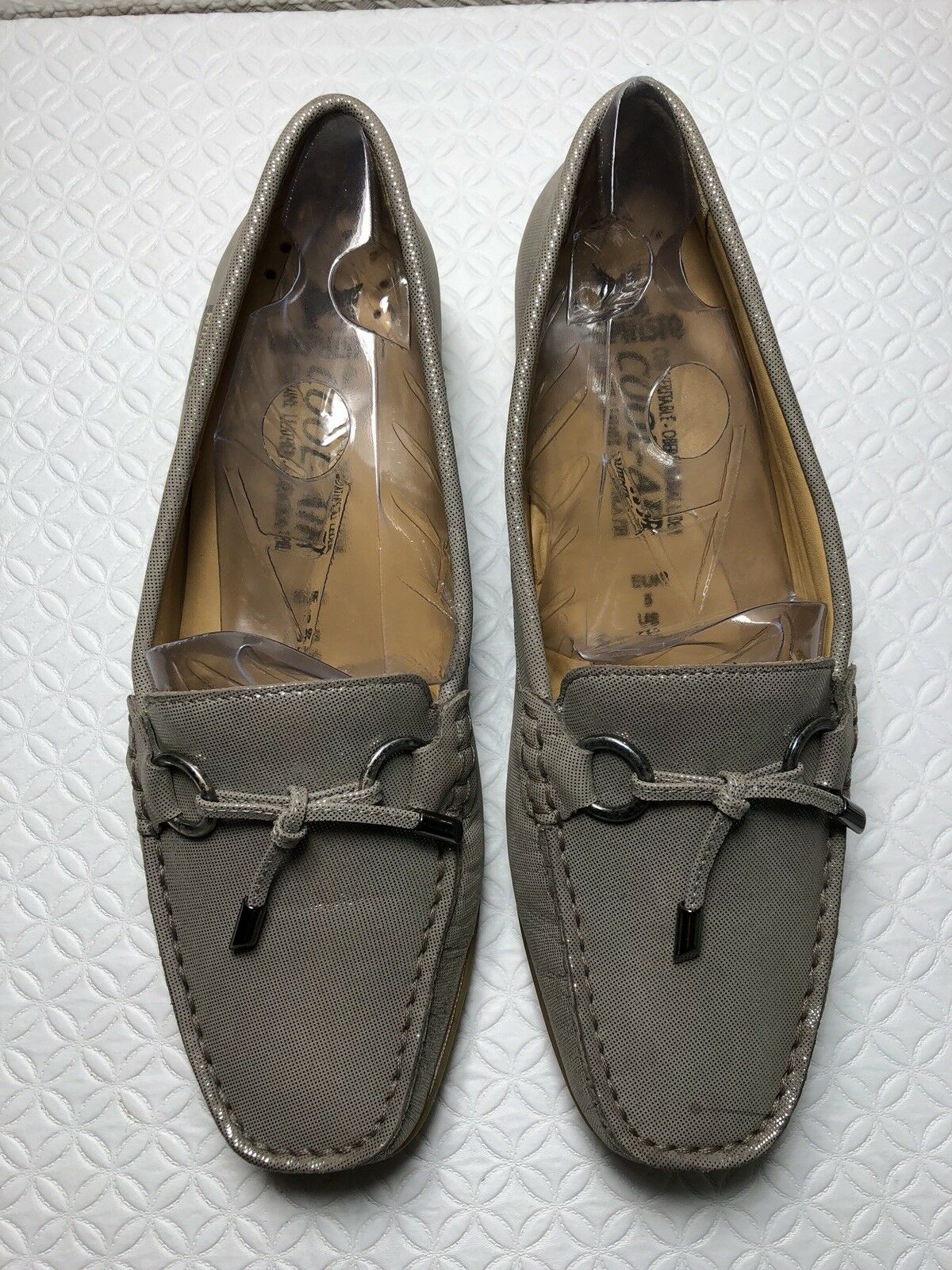 Mephisto Cool Air Women's Taupe Patent Leather Slip On Loafers Size-7.5