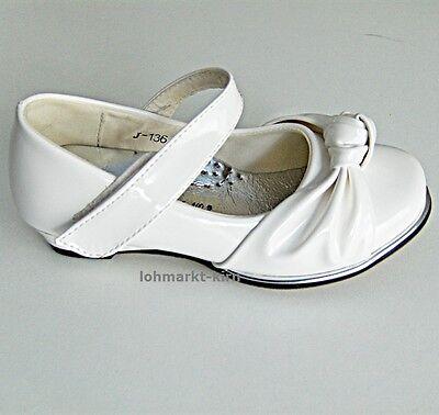 Weiße Festliche Mädchenschuhe Balerinas lackiert Kinder Kommunionschuhe J-136