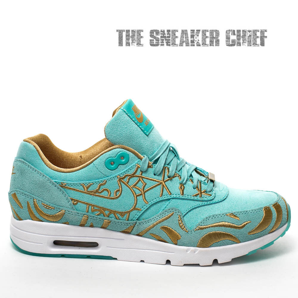 WOMENS NIKE AIR MAX 1 ULTRA LOTC QS CASUAL SHOES ISLAND GREEN GOLD 747105 300 Wild casual shoes