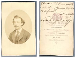 A. Bernoud, Portrait d'un homme CDV vintage albumen,  Tirage albuminé