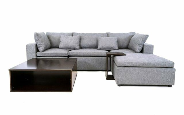 Modern Fabric Sectional Sofa Wood Side Table Tray Reversible Modular, Light  Grey