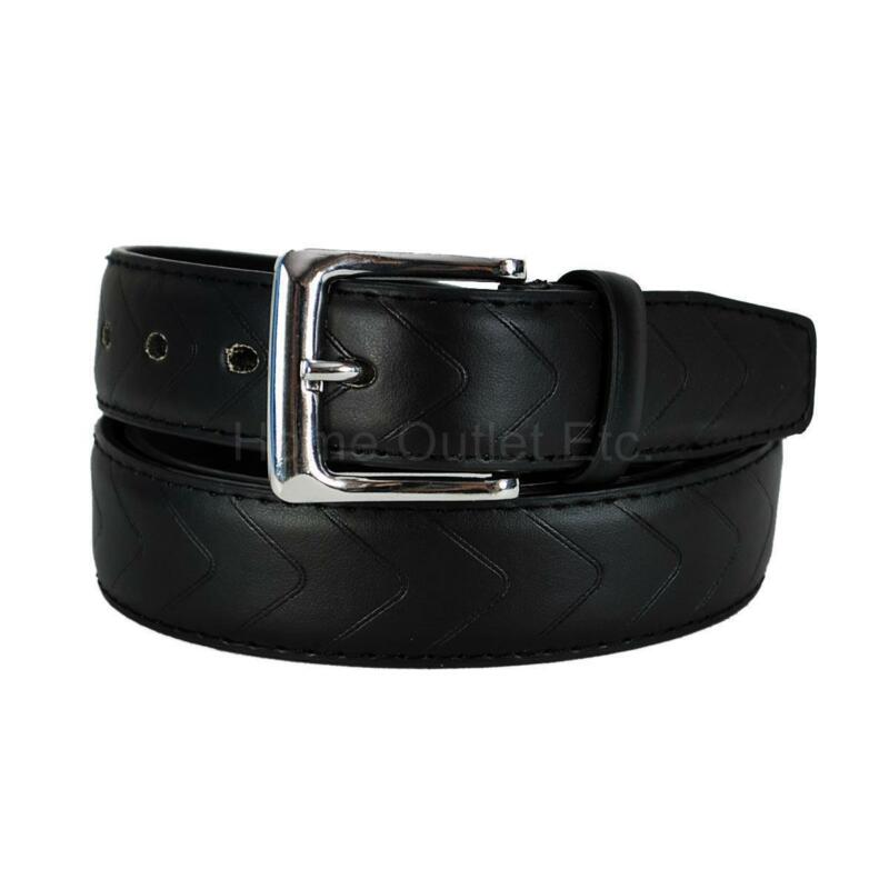 "1.25/"" Leather Dress Belt w//Embossed Chevron Pattern /& Stitched Edge Unisex Women"