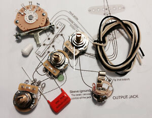 TAOT-Stratocaster-Wiring-Kit-CTS-450-g-chene-5-way-047-OD-Cap-Strat