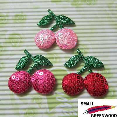 "(U Pick) Wholesale 30-300 Pcs. 1-5/8"" Padded Sequined Cherry Appliques FR140"