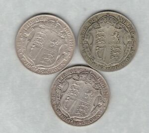 THREE GEORGE V HALF CROWNS 1913/1915 & 1920 IN GOOD FINE OR BETTER CONDITION