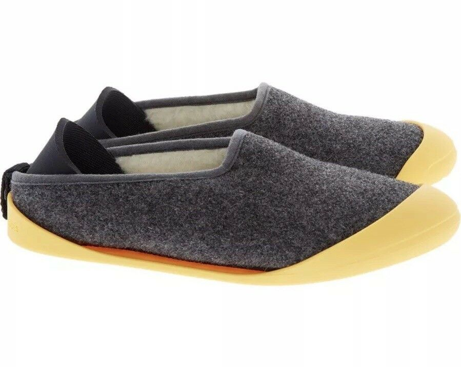 Mahabis gris fur lined slippers with removable jaune soles BNIB Taille UK 2