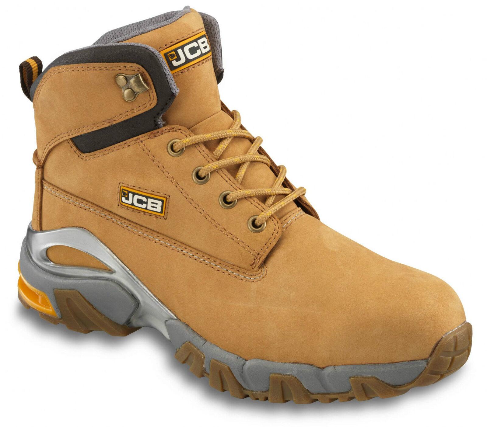 JCB 4X4 Safety Waterproof Work Boots Tan Honey (Sizes 7-12) Men's Wider Fit