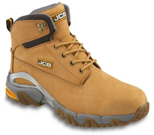 Para Hombre calce más amplio Tallas 7-12 Jcb 4X4 Seguridad Impermeable Botas de trabajo tan Miel