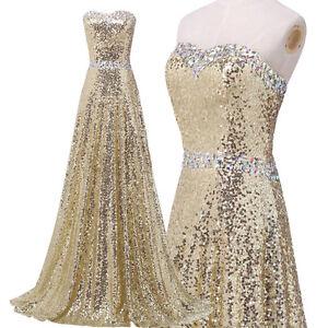 Pailettenkleid Gold Ballkleid Abendkleid Lang ...