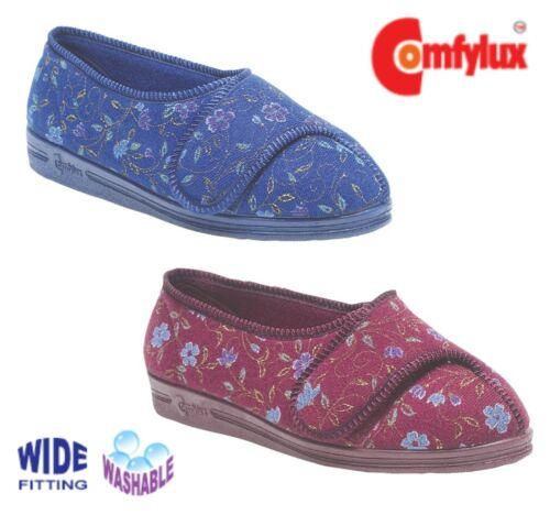 Comfylux Femmes Floral Super Wide EEEE Ajustable Lavable Chaussons Bleu ou Rouge