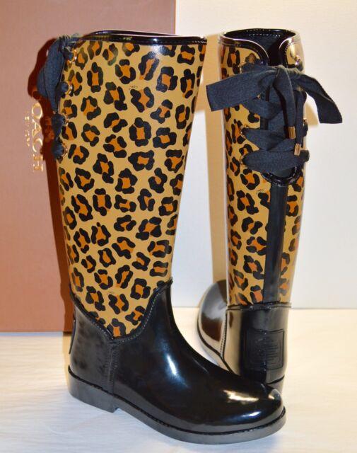 15a59f919db5 New $168 Coach Tristee Shiny Black Rubber/Neutral Cheetah Rain Boot  Rainboots 7