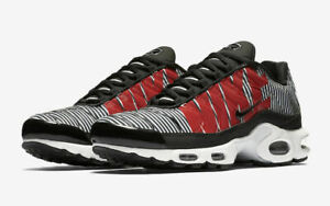online store 9bbd9 10f1b Details about Nike Air Max Plus TN SE Running Shoes Black White Red  AT0040-001 Men's NEW