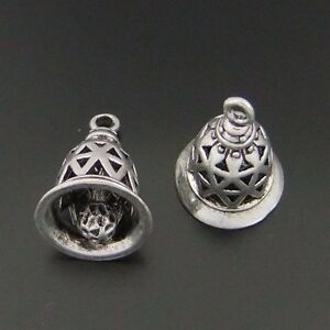 12X-Antiqued-Style-Silver-Tone-Bell-Pendant-Charms-Findings-14-12-12mm