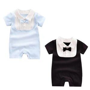e215b9ced65a Newborn Baby Boy Formal Gentleman Bowtie Tuxedo Suit Striped Romper ...