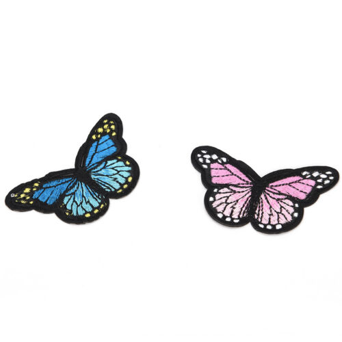 5x butterfly patch patches sew iron on embroidered badge fabric clothing GV