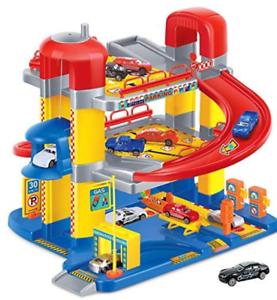 Parkgarage-Parkhaus-auf-3-Ebenen-mit-6-Autos-Spielzeug-Tankstelle-Ostern-NEU