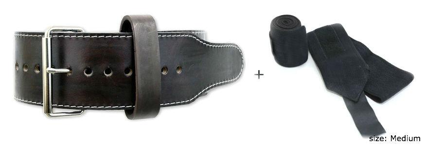 Powerlifting Classic Single Prong 10mm Power Belt (Medium) + Wrist Wraps