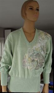 Vintage-Cache-light-Green-Sweater-w-Beads-Pearls-amp-Leather-Size-L
