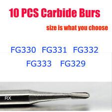 10pk Dental Carbide Burs Fg 329 330 331 332 333 Pear For High Speed Handpiece