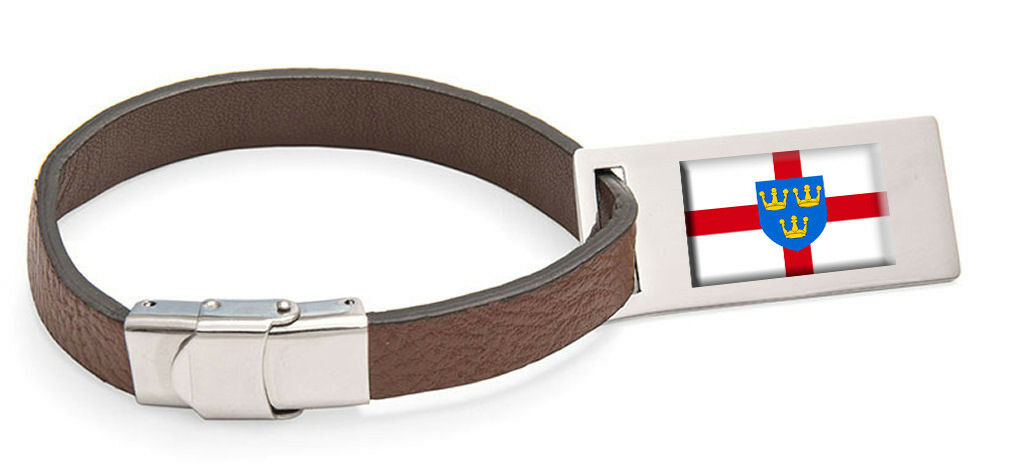 East anglia flag cuir steel sacgage label text engraved