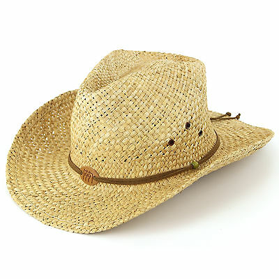 Straw Cowboy Hat Stetson Hawkins Sun Cap Mens Womens Band Ladies Fedora Summer