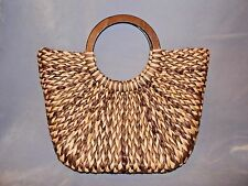 Women's Large Brown and Natural Straw Tote Bag Purse, THE LIMITED, Wooden Handle