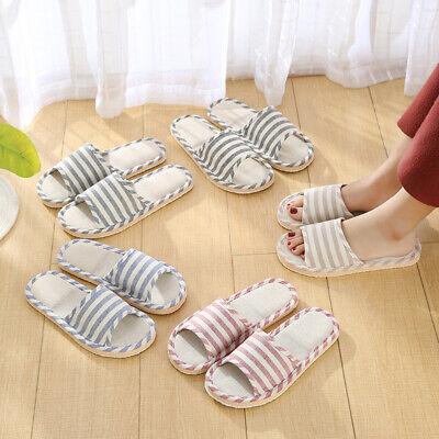 Women Men Lovers Anti-slip Linen Home Indoor Open Toe Flat Shoes Beach Slippers