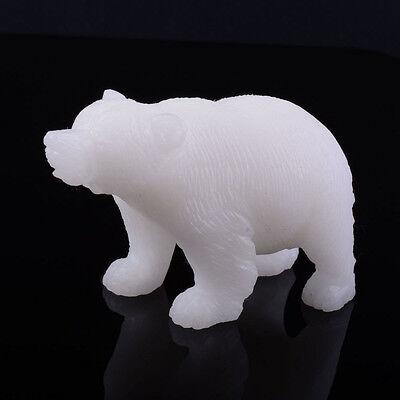 "k18514 79mm Carved white jade bear figurine 3.1"""