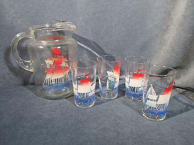 Sailboats Lighthouse Pitcher Tumbler Glasses Red Whit Blue Mid Century Set of 5