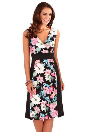 Womens Floral Cap Sleeve Knee Length Ladies Summer Beach Party Holiday Sun Dress
