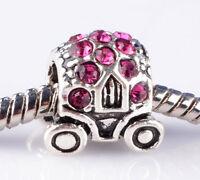 jewelry 1pcs silver car Rose CZ big hole Beads European Charm Bracelet A851