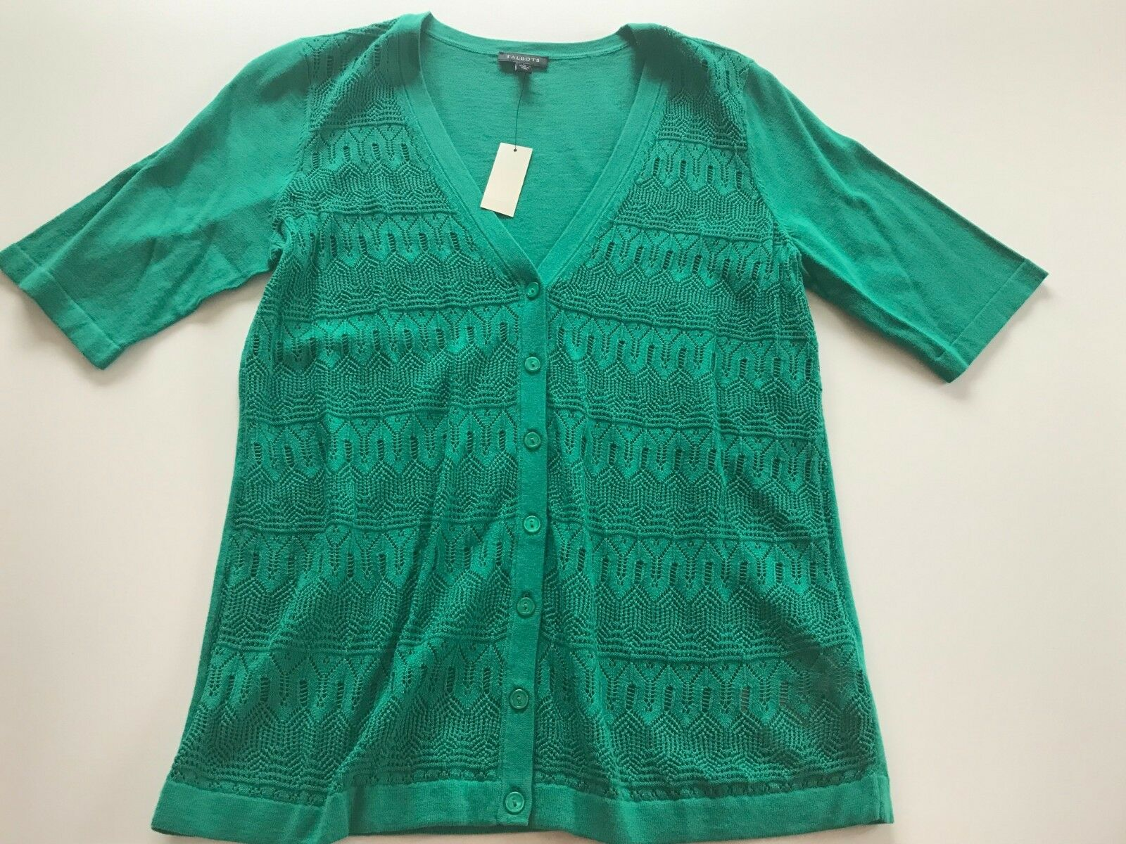 NWT TALBOTS Women's KELLY GREEN SHORT SLEEVE Cardigan Sweater S 69.00