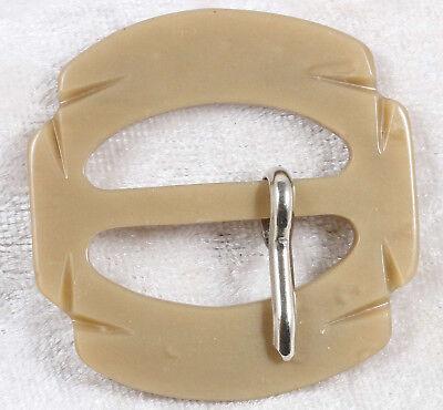 Plastica A Forma Di Fibbia Della Cintura 1.5 Pollici In Marrone Moka Vintage-mostra Il Titolo Originale Altamente Lucido