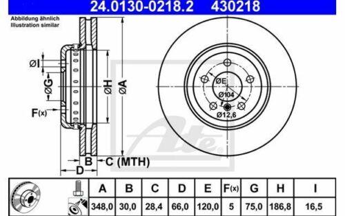 1x ATE Bremsscheibe vorne belüftet 348mm für BMW 5er-Reihe 24.0130-0218.2