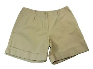 Talbots Womens Petite Size 8 MED Beige Chino Short Stretch High Waisted